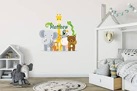 Amazon Com Custom Name Jungle Animals Baby Safari Zoo Animals Series Theme Wall Decal Wall Decal For Nursery Bedroom Playroom Decoration Wide 20 X20 Height Kitchen Dining