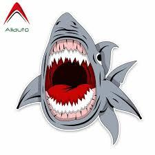 Aliauto Cartoon Car Sticker Big Shark Vinyl Decal For Auto Bumper Window Wall Suitcase Motorcycles Laptop Diy Decor 14cm 13cm Car Stickers Aliexpress