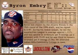 2000 New Jersey Jackals Warning Track #16 Byron Embry - NM - Gearhart  Enterprises Inc. | Beckett Marketplace