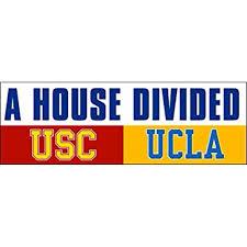 A House Divided Usc Ucla Sticker Decal Los Angeles Football Rival Trojans Bruins 3 X 9 Inch Walmart Com Walmart Com