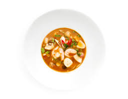 Seafood soup on white background - Miu ...