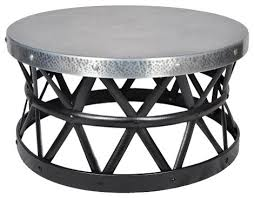 zinc drum hammered coffee table