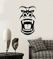 Vinyl Wall Decal Gorilla Evil Monkey Head Face African Mask Stickers 3580ig Ebay