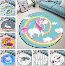 Rainbow Cartoon Unicorn Round Floor Mat Kids Bedroom Carpet Living Room Area Rug Ebay