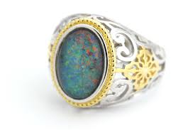 australian opal triplet ring in