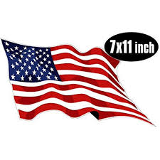 Large Waving American Flag Sticker Decal Usa Made Decal Size 7 X 11 Inch Walmart Com Walmart Com