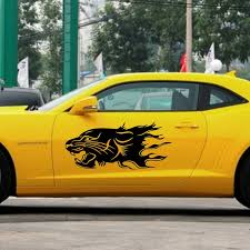 Car Decal Running Lion Flames 39 For Camaro Vinyl Animal Motor Stickers Zc1024 Flames Decals Decals For Carslion Car Aliexpress