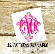 Lilly Pulitzer Monogram Cross Decal Lilly Decal Christian Decal Yeti Decal Laptop Yeti Ca Lily Pulitzer Monogram Decal Christian Decals Monogrammed Cross
