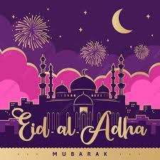 ملصق عيد الأضحى المبارك بمسجد على خلفية وردية بنفسجية مع ديكور