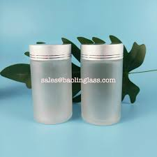pill frosted glass bottle with silver lid