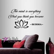 Vinyl Decal Mind Is Everything Buddha Quote Wisdom Lotus Flower Wall Sticker 246 Ebay