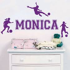 Custom Personalized Name Girl Soccer Sports Wall Stickers Living Room Bedroom Home Decor Wallpaper Mural Y 6 Name Wall Stickers Wall Stickerwall Sticker Name Aliexpress