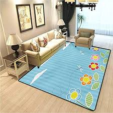 Amazon Com Dragonfly Retro Style Living Room Rug Kids Playroom Children Floral Girls Daisy Blooms Under Cloudy Sky Cartoon Home Decor Rugs For Christmas And Thanksgiving Sky Blue White W4xl5 Ft Kitchen