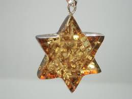 amber star of david pendant jewish