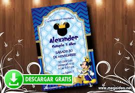 Tarjetas De Invitacion De Mickey Rey Mega Idea