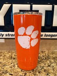 Custom Powder Coated Yeti Rambler Tumbler 20oz And 30oz In Orange With Clemson Yeti Rambler Yeti Rambler Tumblers Rambler Tumbler