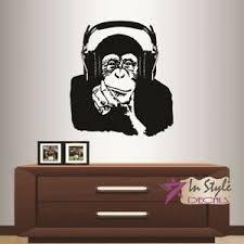 Wall Vinyl Decal Chimpanzee In Headphones Monkey Animal Ape Sticker Decor 2095 Ebay