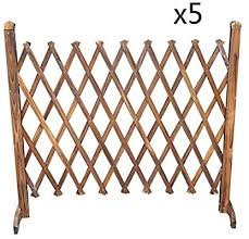 Zhanwei Garden Fence No Dig Foldable Picket Fencing Carbonization Solid Wood Flower Stand Border Edge Panels Color 5pcs Size 150x97cm Amazon Ae