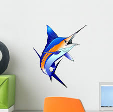Blue Marlin Swordfish Wall Decal Sticker Wallmonkeys Peel Stick Vinyl Graphic 12 In H X 10 In W Walmart Com Walmart Com