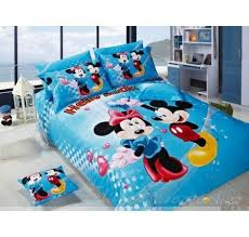 blue mickey and minnie mouse bedding