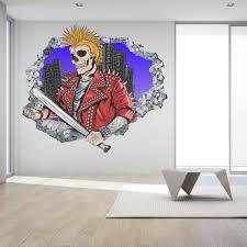 Cool Skull Cartoon Wall Hole Decal 3d Design Vinyl Home Etsy