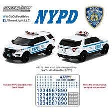 1 64 Nypd 2016 Ford Interceptor Utility Police Car With Decal Sheet Diecat Car 42772 By Model 42772 By Greenlight Walmart Com Walmart Com