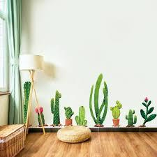 Cactus Wall Sticker Green Plant Wall Decal Diy Mural Art For Home Living Room Kids Bedroom Nursery Wall Decor Wallsymbol Com