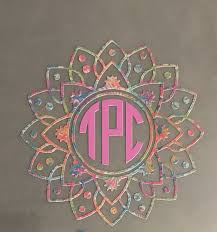 Lilly Mandala Monogram So Perfect For Spring Summer On Tpcgraphics Etsy Com Monogram Vinyl Decal Initials Decal Monogram Decal