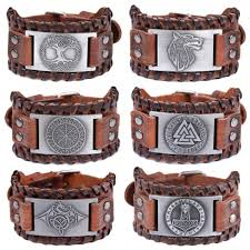 viking norse wolf head leather bracelet