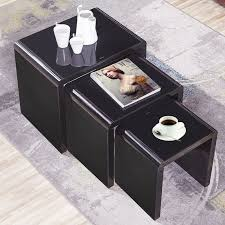 nest of 3 coffee table side end tables