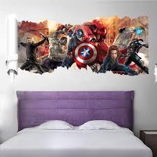 Home Wall Art 3d Wall Stickers Marvel Iron Man American Captain Broken The Wall Decor Kids Boys Room Wall Stickers Aliexpress