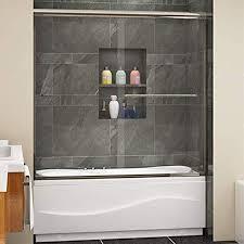 double glass sliding shower bath tub