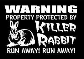 Killer Rabbit Vinyl Decal Property Protected Run Away Funny Monty Python Sticker 5 99 Picclick