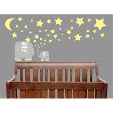 Yellow And Grey Elephant Wall Decals Elephants Nursery Decor Wall Stickers With Yellow Stars And Moon Wall Decals Walmart Com Walmart Com