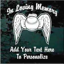 Baseball Angel Wings Memorial Car Decals Customized Decal Junky