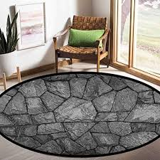 Grey Round Kids Living Room Carpet Stone Wall Texture Image Rough Rusty Blocks Obsolete Structure Antique Grunge Weathered 3ft Children Education Learning Educational Toys Planet