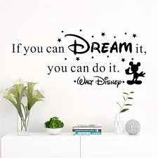 Creative If You Can Dream It You Can Do It Quotes Wall Stickers Bedroom Home Decor Disney Wall Decals Vinyl Mural Art Leather Bag