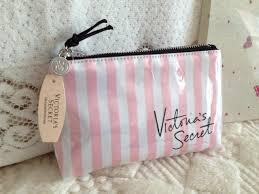 secret makeup bag pink white stripes