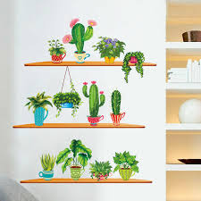 Nordic Style Art Wall Stickers Cactus Plant Plotted Bonsai Wall Decals Living Room Home Decoration Garden Green Stickers Decor Wall Stickers Aliexpress