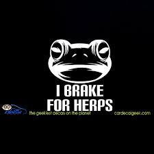 I Brake For Herps Car Decal Sticker Frog Decals