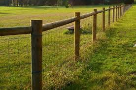 Rural Fencing I Like This Fence But Would Use Square Timber Posts Beams Instead Of Round Ones Farm Fence Backyard Fences Fence Design