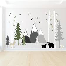 Forest Wall Decal Pine Tree Wall Decal Mountain Wall Decal Etsy