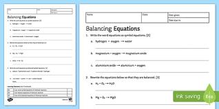 balancing chemical equations ks3