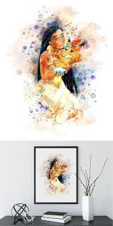 disney pocahontas watercolor poster