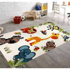 Kc Cubs Multi Color Kids Children And Teen Bedroom Playroom Happy Animal Nursery Friends 5 Ft X 7 Ft Area Rug Kcp010013 5x7 The Home Depot
