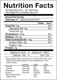 tang orange juice nutrition facts