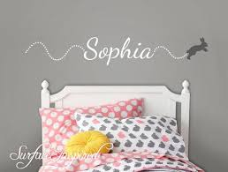 Personalized Name Wall Decal Vinyl Wall Art Sophia With Bouncing Bunny Surface Inspired Home Decor Wall Decals Wall Art Wooden Letters