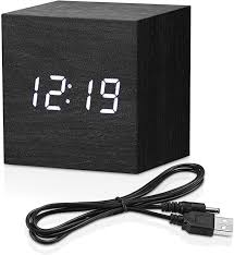 Amazon Com Topacom Wooden Digital Alarm Clock Cube Little Clock Led Table Clock For Heavy Sleepers Kids Bedrooms With Adjustable Brightness Voice Control Black Home Kitchen
