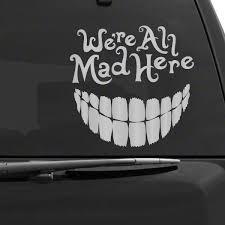 Alice In Wonderland Cheshire Cat Car Decal Car Decals Vinyl Car Stickers Cute Car Decals