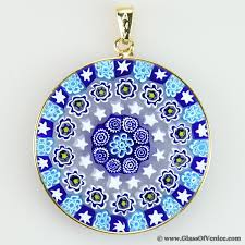large millefiori pendant in gold plated